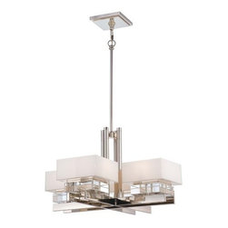 Metropolitan - Metropolitan N6267-613 Eden Roe 8 Light 1 Tier Chandelier - Bulbs Included - Metropolitan N6267-613 Eight Light Eden Roe Single Tier Chandelier - Bulbs IncludedFeaturing a shimmering and stylish cube design, this ultra modern eight light chandelier will enhance the look of any dining room, foyer, or living room. Reflective Polished Nickel hardware perfectly compliments the Mitered / White Inside glass.Metropolitan N6267-613 Features: