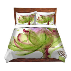 DiaNoche Designs - Duvet Cover Twill by Dawn Derman - Artichoke Flower - Lightweight and soft brushed twill Duvet Cover sizes Twin, Queen, King.  SHAMS NOT INCLUDED.  This duvet is designed to wash upon arrival for maximum softness.   Each duvet starts by looming the fabric and cutting to the size ordered.  The Image is printed and your Duvet Cover is meticulously sewn together with ties in each corner and a concealed zip closure.  All in the USA!!  Poly top with a Cotton Poly underside.  Dye Sublimation printing permanently adheres the ink to the material for long life and durability. Printed top, cream colored bottom, Machine Washable, Product may vary slightly from image.
