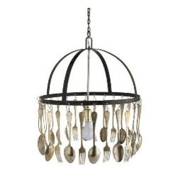 ecofirstart - Call to Dinner Chandelier - Whet your appetite with a chandelier made with forks and spoons. This playful piece is perfect for your kitchen or dining room, where preparing and enjoying good food is a priority. Light magically reflects off the dangling flatware when illuminated with a 60-watt bulb.