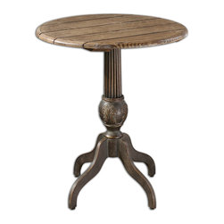 Uttermost - Lina Round Accent Table - Darkened Bronze Metal With Top Made Of Hand Finished, Fir Wood Planks With A Natural Gray Wash. Bulbs Included: No