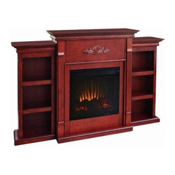 Southern Enterprises Tennyson Mahogany Electric Fireplace with Bookcase - The Southern Enterprises Tennyson Plantation Electric Fireplace With Bookcases offers the perfect ambience for your office, bedroom, or dining room. A bookshelf on each side is ideal to display your favorite classic books or curios. The mantel itself is adorned with tall, slender fluted columns on either side of the firebox, traditional crown molding, and a symmetrical medallion applique. Each three-shelf bookcase shares the same contemporary molding as the fireplace, and the rich classic mahogany finish adds warmth to any décor. The Tennyson Plantation Electric Fireplace features a fan-only mode for four seasons of enjoyment, and comfortably heats a room in minutes during the colder seasons. Two heat settings allow you to adjust the temperature to your liking: the low setting offers 750 watts/2,500 BTUs and the high setting offers 1,500 watts/5,000 BTUs. The fireplace plugs into any standard wall outlet, has a safety thermal cutoff, and is ETL approved. This wonderful electric fireplace features a patented flickering flame effect and ember glow log set that offers the effect of real wood, and the brightness and flame size are adjustable. The fireplace emits no smoke, no odor, no sparks, and no ash, so you won't have any of the mess of a wood-burning fireplace. It is also 100 percent energy efficient and eco-friendly, emitting no emissions or pollutants. The Tennyson Plantation Electric Fireplace mantel supports up to 85 lbs.* and produces no combustion - the glass remains cool to the touch. The fireplace includes the mantel, metal firebox, log set, faux coal cinder, and screen kit. Assembly required. Dimensions: 70.25W x 14D x 42.25H inches. *Warning: Positioning anything on top of the fireplace mantel poses a degree of risk, especially in the case of electronic appliances or equipment. If you elect to display a television, we recommend that it be a slip-profile, flat-screen model and that it be positioned away from the front edge of the mantel where there is a degree of heat generated from the firebox. It is also recommended that any flat-screen TV be secured to the wall behind it for added safety and security. The manufacturer assumes no responsibility for items placed on top of a fireplace mantel. About SEI (Southern Enterprises, Inc.)This item is manufactured by Southern Enterprises or SEI. Southern Enterprises is a wholesale furniture accessory import company based in Dallas, Texas. Founded in 1976, SEI offers innovative designs, exceptional customer service, and fast shipping from its main Dallas location. It provides quality products ranging from dinettes to home office and more. SEI is constantly evolving processes to ensure that you receive top-quality furniture with easy-to-follow instruction sheets. SEI stands behind its products and service with utmost confidence.