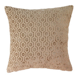 Camel Geometric Velvet Decorative Pillow Cover - One decorative pillow cover made to fit a size 18x18 pillow insert. Soft cut velvet geometric pattern in camel. Made with the same fabric on both front and back. Finished with a concealed bottom zipper. Pillow insert is not included.