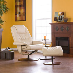 Holly & Martin - Holly & Martin Parrish Leather Recliner and O - Set includes recliner & ottoman. Mechanism-glide system with position lock. 360� Swivel recliner. Ottoman does not swivel, base measures 18 in. across. Color: Taupe. Constructed of birch hardwood, bonded leather, foam and metal. 1 Year warranty against manufacturer defects. Assembly required. Weight capacity: 300 lbs.. Wood base measures 23.5 in. across. Back rest: 23.5 in. W x 28 in. H. Ottoman base: 18 in. across. Ottoman: 19.5 in. W x 17.75 in. D x 17.5 in. H. Recliner: 31 in. W x 31 in. D x 40.5 in. HBecome familiar with the concept of luxury as this recliner and ottoman set is all about rich, traditional elegance and modern superiority. This reclining chair and matching ottoman merges the ease of reclining with the comfort of luxurious bonded leather for the perfect end-of-day reward. With a full swiveling base that rotates 360 degrees you'll fall in love with this set. So go ahead and put your feet up with this ergonomically designed recliner and ottoman set; you'll want one for every room.