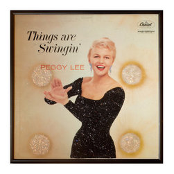 "Glittered Peggy Lee Things Are Swinging Album - Glittered record album. Album is framed in a black 12x12"" square frame with front and back cover and clips holding the record in place on the back. Album covers are original vintage covers."