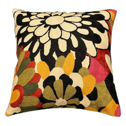 """Modern Wool - Modern Floral Design Pillow Cover II Hand Embroidered 18"""" x 18"""" - Modern Floral design pillow cover - This vivid, stand-out floral design cushion cover is an excellent way to show off the exquisite nature of chain stitch embroidery, which is a finer form of crewel. Each petal is defined with a unique swirl-pattern, and the colors are layered over each other so that each is displayed in maximum contrast. The vibrant colored petals against the stark cream and black flower is an equally eye-catching juxtaposition. Every inch of the base is covered with the embroidery. This look can be contemporary or retro. This pillow cover is a work of art, hand created by some of the finest artisans in the world. No two are exactly alike. Solidly constructed of soft wool, its matchless durability makes it a practical and perfect choice wherever you choose to use it."""