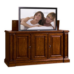 """Sligh - Laredo 73"""" Lift Top TV Cabinet, Birch & Walnut - Imaginatively designed and stylishly finished, Sligh leads the way in home entertainment with cabinets, consoles and modular walls that not only flexibly accommodate today's most popular TVs, but also ingeniously anticipate tomorrow's. Regardless of the dimensions of your TV (or your TV room), and whether you prefer your set proudly displayed or discreetly hidden, Sligh has a product suited to your taste."""