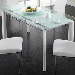 Creative Furniture - Chemistry White Dining Table - This Chemistry White Dining Table by Creative Furniture is modern and fashionable. Just for your new updated dining room. It doet need any special place or decoration, it is just good looking and functional. The Table has a glass top and steel legs and the chairs are covered with a soft microfiber. This is the decision, that you were looking for. Creative Furniture  it is a strong combination of style and quality.     Features:
