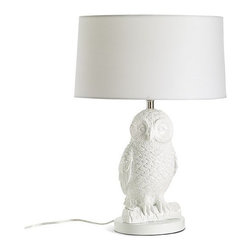 "Owl Table Lamp - So I'll admit it. You really cannot get much more eclectic with a table lamp than by using the crazy hoot owl table lamp. Which makes it quite irresistible. Especially since it's under $100 (just barely).• Resin mold base.• Rectangular linen shade.• On/Off switch.• 16""diam. x 20.5""h.• Assembly required.• 60W bulb (included)."