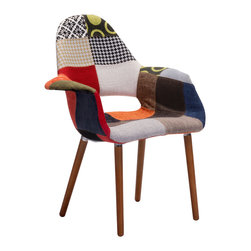 Zuo Modern Contemporary, Inc. - Moshe Occasional Chair Patchwork Multicolor - With a fashion forward multi-color and multi-pattern patchwork, The Moshe Chair is a fun statement piece for any space.  It sits on walnut legs and is constructed from a plastic inner shell.  This chair will wow all those see it!
