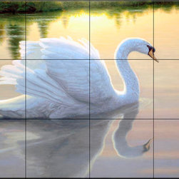 The Tile Mural Store (USA) - Tile Mural - Quiet Waters - Kitchen Backsplash Ideas - This beautiful artwork by Richard Burns has been digitally reproduced for tiles and depicts a Swan in a reflecting pool.  Images of waterfowl on tiles are great to use as a part of your kitchen backsplash tile project or your tub and shower surround bathroom tile project. Pictures of egrets on tile, images of herons on tile and decorative tiles with ducks and geese make a great kitchen backsplash idea and are excellent to use in the bathroom too for your shower tile project. Consider a tile mural of water fowl for any room in your home where you want to add interesting wall tile.
