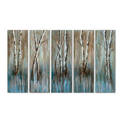 Uttermost - Birch Family Frameless Art, Set of 5 - Here's an enchanting set of birch trees, handpainted in acrylics on stretched canvas. An artful drip effect enhances the sky blue and earthy brown background and gives your birch family of five an energetic vibe. This original artwork is ready to add natural beauty and grace to any room.