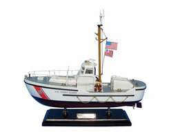 """Handcrafted Model Ships - USCG Utility Boat 16"""" - Wooden US Coast Guard Boat - Sold fully assembled. Ready for Immediate Display - Not a model ship kit... Honoring the hard work and dedication of the United States Coast Guard, the USCG Coastal Patrol Boat model is a well-crafted replica of the real boats used by the US Coast Guard. 16"""" Long x 5"""" Wide x 15"""" High (1:35 Scale)"""