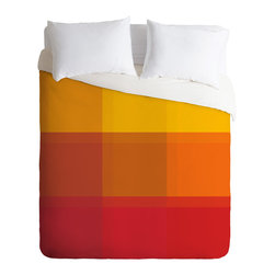 DENY Designs - Madart Inc Orange Sorbet Duvet Cover - Turn your basic, boring down comforter into the super stylish focal point of your bedroom. Our Luxe Duvet is made from a heavy-weight luxurious woven polyester with a 50% cotton/50% polyester cream bottom. It also includes a hidden zipper with interior corner ties to secure your comforter. It''_s comfy, fade-resistant, and custom printed for each and every customer.