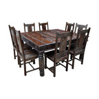 Sierra Living Concepts - Anthracite Solid Wood 9 Piece Square Dining Set - Enjoy the timeless sophistication of the American Mission Style with our handmade Anthracite Solid Wood 9 Piece Square Dining Table and 8 Chair Set.