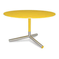 "Blu Dot - ""Blu Dot Sprout Dining Table, Complete Yellow"" - ""Pure color and brushed stainless steel play well together. Satin finish tops and stems in your choice of yellow, ivory or black. Color peeks through the legs for a flirtatious touch."""
