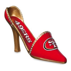 Team Sports America, Inc. - San Francisco 49ers Decorative Team Shoe Wine Bottle Holder - Who says wine, fashion, and football don't mix? This shoe a la wine holder makes a great gift for fantasy football fanatics or for the host of a gameday gathering. So go ahead, let this unique NFL memento spark conversation and spur on team spirit.