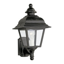 Sea Gull Lighting - Sea Gull Lighting Bancroft Transitional Outdoor Wall Sconce X-21-5188 - From the Bancroft Collection, this Sea Gull Lighting outdoor wall sconce features a classic traditional design that is sure to compliment a variety of outdoor settings and architectural styles. The body features sturdy cast aluminum construction, clear glass panels and a Black powder coat finish that ensure it will last for years to come.