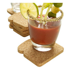 Design Ideas - Toaster Coasters, Set of 8 - Developed by a Brazilian designer, the Toaster Coasters are a play on words, shapes and materials. The high quality natural cork material does indeed look something like toast and protects your table surface from moisture or heat. This is a great hostess gift, sure to spark conversation. Suitable for the cocktail hour, the breakfast table, a dinner party or a steamy mug of hot chocolate.