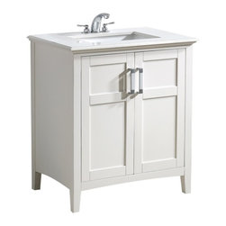 WyndenHall - Salem White 30-inch 2-door White Quartz Marble Top Bathroom Vanity Set - The 30-inch Salem Vanity is defined by its white finish,multi finish chrome pulls,clean lines and contemporary look. This beautiful assembled vanity provides large storage area with an internal shelf behind its 2 doors