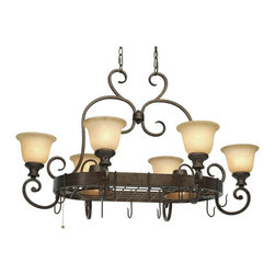 Golden Lighting - Heartwood 8-Light Hanging Pot Rack - Includes dual-chain canopy with hanging fixtures. Bulbs not included. Requires six 60 watt medium base incandescent and two 50 watt R20 medium base bulb. Eight E26 sockets. Electric wire gauge: SPT-1 20288. Traditional style. 3-way switch. Warm tea stone glass shade. UL listed for dry location. Total wattage: 480. Made from steel and glass. Burnt sienna and bronze color. Chain length: 12 ft.. Wire length: 12 ft.. Shade: 6.75 in. Dia. x 4.75 in. H. Canopy extension: 2 in.. Canopy: 13 in. W x 5 in. H. Fixture extension: 25.5 in.. Overall: 42 in. W x 27.5 in. H. Warranty. Assembly InstructionsSimple, clean organic lines creating a great look for a moderate price. Easy to match with any home decor from country to traditional. A multi-functional unit that illuminates your kitchen and provides access to your cookware. Beauty and organization for the welcoming kitchen.