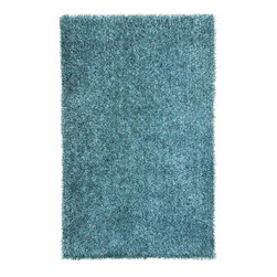 "Jaipur - Shag Solid Pattern Polyester Blue/ Area Rug, 3.6 x 5.6 - Personal expression reaches new heights with Flux, a beautiful range of plush, hand-woven shag rugs of 100% polyester. This ""chameleon"" is ideal for the contemporary design lover who enjoys mixing up his or her personal space often - acting as a rich background to a diverse palette of furnishings and accessories. Highly textured shag construction brings comfort underfoot while a palette of fashion forward solid hues commands attention in any room."