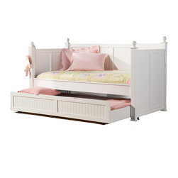 Adarn Inc. - Classic Poster Wood Twin Daybed Posts BeadBoard Arm Trundle Day Bed, White - This beautiful daybed will be a lovely addition to the youth or spare bedroom in your home. The high headboard, footboard, and back feature a slat design with simple molding, square posts, and classic round finials. The twin size bed is multifunctional, offering a comfortable place to lounge and read, and a great sleeping spot by night. A convenient trundle below makes is simple to accommodate overnight guests. This daybed is offered in a clean semi-gloss white finish or rich satin black. This classic daybed will be a wonderful addition to your home.