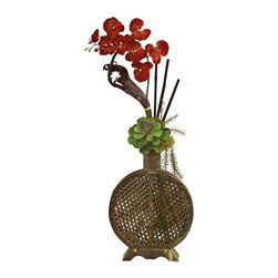 Orchid, Succulent Sunrise Arrangement - They say nature can't be improved upon, but we can try, can't we? Just look at this unusual arrangement of Orchid, Succulent and Bamboo and see how combining these three beauties really works. An ideal conversation piece for your home or office decor, this arrangement comes in an equally unique planter that brings out the best in each color and texture. Never needs water or care either. Height= 34 In. x Width= 15 In. x Depth= 5 In.