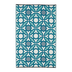 Fab Habitat - Fab Habitat - Indoor/Outdoor Rug - Seville - Multicolor - Blue, 4' X 6' - These beautifully crafted rugs are made following the fair trade principles. Fab Rugs add a touch of elegance to your home décor. They are made using premium quality recycled plastic straws which are tightly woven together to offer strength, softness and beauty. Being plastic, moisture will have no effect on the mat and it will not attract mildew.