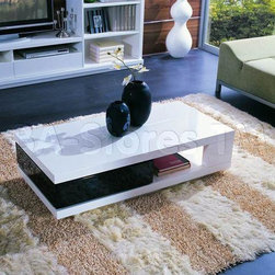 Modern White and Black Coffee Table -