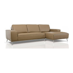 Elite - Latte Leather Sectional Sofa - Features:
