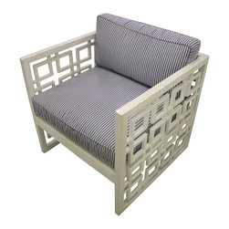 Who Knew Private Label - Pair of Colonial Latticework Chairs - Set of two David Hicks style colonial latticework chairs, with indoor-outdoor cushions in Schumacher navy ticking fabric.