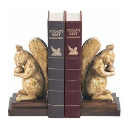 Sterling Lighting - Acorn Lover Squirrel Nibbling Silently Bookend - Acorn lover squirrel bookends. Crafted from durable material . Antiqued with a distressed finish. Great accent decor. Can decorate a table or shelf and to hold up books. Made of composite material. Beige and Brown finish. 8 in. L x 4 in. W x 8 in. H (3 lbs.) Sterling Industries specializes in bringing creativity and imagination to decorative home accessories. Sterling's strong design innovation and quality manufacturing ensure products that are stylish and in demand.