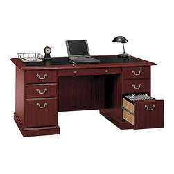 Bush - Bush Saratoga Executive Home Office Computer Desk with Bookcase in Cherry - Bush - Office Sets - EX456661615C03 - Bush Saratoga Executive Home Office Computer Desk with Bookcase in Cherry