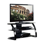 "Bello - Bello High Gloss Flat Panel TV Stand in Black - Bello - TV Stands - PVS4204HG - This contemporary audio/video furniture is designed to hold most flat panel televisions up to 46""(or up to 100 lbs) and up to four audio/video components. The metal frame is accented by a sleek curved front and features a beautiful Gloss Black scratch resistant powder-coated finish. The three black tempered safety glass shelves and open architecture offer the necessary ventilation for convection cooling of your audio/video components. The CMS Cable Management System hides and organizes unsightly wires and interconnect cables for a clean appearance."