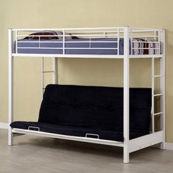 Sunrise Twin over Futon Bunk Bed - White - The Sunrise Twin over Futon Bunk Bed - White is a transforming treasure. Constructed from amazingly tough steel the frame will never ever (ever) give out promising the safety of all who use it. This piece is finished with a white lead-free powder coat for a versatile look able to fit a number of color combinations. An integrated ladder and full-length guard rails make this an extra-safe addition to your chosen room. Featured is a futon which easily converts to a full-size sleeper making this piece useful around the clock. This bed measures 79W x 42D x 68H inches. CPSC recommends the tops of the guardrails must be no less than 5 inches above the top of the mattress and that top bunks not be used for children under 6 years of age. About Walker EdisonSpecializing in quality furniture at low prices Walker Edison Furniture Company manufactures a wide variety of furniture pieces for the North American marketplace. From bedroom furniture and desks to coffee tables dining tables and TV stands Walker Edison provides practical decor solutions for today's functional homes. With factories strategically located all over the world Walker Edison balances cost with low-priced raw materials and skilled artisans to deliver smart furniture pieces that fit every budget.