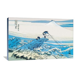 """Artsy Canvas - Fishing In The Surf 36"""" X 24"""" Gallery Wrapped Canvas Wall Art - Fishing in the Surf - Katsushika Hokusai (1760 beautifully represented on 36"""" x 24"""" high-quality, gallery wrapped canvas wall art"""