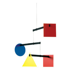 Flensted Mobiles - Large Bauhaus Mobile - This study in geometry also offers an early primer on colors. Use it to add a bold, contemporary shot of color over a desk, in the corner of a room or even hung above a changing table.