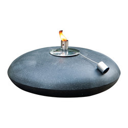 "Smart Solar - Olympus Terrazzo Fire Pot - 4"" H - Black Granite - Olympus Terrazzo Fire Pot - 4"" H - Black Granite"
