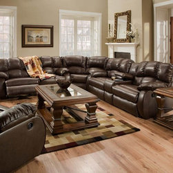 Recline Designs Furniture - Hampton Brown Leather Reclining Sectional - Upholstered in bonded leather
