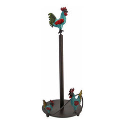 Rooster Motif Metal Paper Towel Holder - This metal paper towel holder is pretty and practical, and adds the finishing touch to your kitchen decor. It features a rooster motif, hand painted in red, blue, and green enamels. This piece measures 16 1/2 inches tall and has a 6 1/2 inch diameter base. It makes a great addition to whimsical country kitchens.