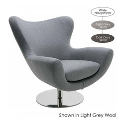 Nuevo Living - Conner Lounge Chair, Dark Grey Wool - The space-age shape is just the beginning of this chair's charm. It stands on a sturdy, stainless steel pedestal and you can choose the color and upholstery — Naugahyde or wool — that suits your style and modern setting best.
