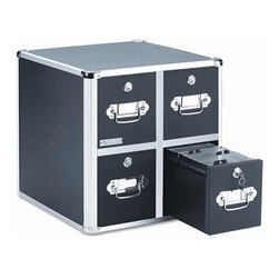 """VAULTZ - 4 Drawer CD File Cabinet - Sturdy, high-capacity CD storage cabinets feature key lock drawers. Each drawer is divided into three compartments and accommodates 165 CDs. CD folders, 60 CDs in slim cases or 30 CDs in full size jewel cases. Label holders on drawer fronts. Features: -Total Recycled Content Percent : 0%.-Number of Drawers : 4.-Package: Includes four-drawer cabinet..-Distressed: No.-Commercial Use: No.-Weather Resistant or Weatherproof: No.-Scratch Resistant: No.-Heat Resistant: No.-Stain Resistant: No.-Drawers Included: Yes -Number of Drawers: 4.-Divided Drawers: Yes.-Felt-Lined Drawers: No.-Locking Drawer: Yes.-Drawer Handle Design: Finger Pulls..-Exterior Shelves Included: No.-Cabinets Included: No.-Finish: Black.-Collection: Media Trays/Racks.-Recycled Content: No.-Eco-Friendly: No.-Product Care: No.-Storage Capacity: Holds 260 Slim folders.-Wall Mountable: No.Specifications: -ISTA 3A Certified: No.Dimensions: -Overall Product Weight: 18.66 lbs.-Overall Height - Top to Bottom: 14.75"""".-Overall Width - Side to Side: 14.50"""".-Overall Depth - Front to Back: 15"""".Assembly: -Assembly Required: No."""
