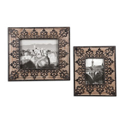 Abelardo Photo Frames, Set of 2 - *Frames Are Made Of Natural Fir Wood With Wrought Iron Metal Details. Sizes: Sm-10x12x1, Lg-13x15x1. Holds Photo Sizes 5x7 & 8x10.