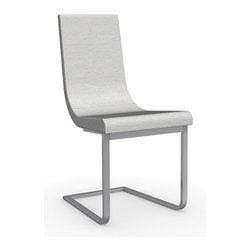 Calligaris - Cruiser Chair with Cantilever Base, Chrome Frame, Denver A02 Color Fabric (Sand) - Polyurethane Foam