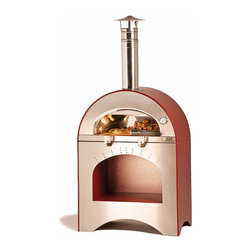 """Frontgate - Alfa Pizza and Brace Pizza Oven - Provides 31-1/2"""" x 15-3/4"""" cooking surface. Uses all three methods to cook efficiently: convection, radiant, and conduction. Suitable for gardens and balconies. Thermometer, chimney, and cap are built in. Arrives fully assembled. Featuring an authentic Italian clay brick hearth combined with a stainless steel dome, our commercial quality Alfa Wood Burning Pizza Oven can bake wood-fired pizzas and grill or broil your favorite meats and vegetables – all at the same time. It combines Old World methods and the latest manufacturing technology to prepare any food to succulent perfection.. . . . . Wheels allow you to move the oven around easily. Includes wood storage shelf. Hinged folding door can be used as a convenient area to place food. Includes pizza peel and cleaning brush. Ready to use – no curing required. Dome and hearth are fully insulated. For outdoor use only. Use only dry, seasoned hardwood. Made in Italy."""