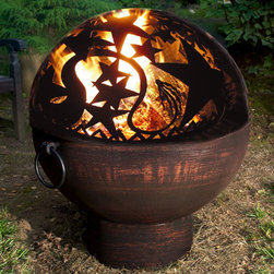 Fire Bowl with Orion Fire Dome - The timeless Orion sky-scape tops the iron and steel design of the fire bowl. Same exacting construction and good looks in a rugged vessel base.