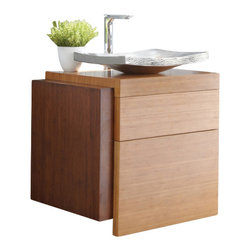 "Native Trails - 30 Inch Single Sink Bath Vanity in Bamboo - Handcrafted from a harmonious blend of Caramel and Woven Strand bamboo, Harmony coordinated equally well with a Zen-like spa bath or minimalist modern design. Two spacious drawers and an integrated top make Harmony a versatile source of practicality for a powder room or guest bath. Dimensions: 30""W X 22""D X 26.5""H; Counter Top: Bamboo; Finish: Caramel and Woven Strand Bamboo; Features: 2 Drawers; Hardware: N/A; Sink(s): Your Choice of Copper Sink; Faucet: See Cut out Configuration Choices; Assembly: Light Assembly Required; Large cut out in back for plumbing; Included: Base Cabinet; Not Included: Countertop, Sink, Backsplash, Faucet, Mirror"