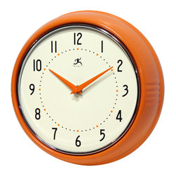 Infinity Instruments, Ltd. - Infinity Instruments Retro Iron Wall Clock, Orange - Infinity Instruments Retro Wall Clock collection has been a staple in the interior design/wall décor accessories for well over a decade.  It has proven the test of time with a clean retro look that fits most, if not all, home décor layouts. There have been many copy cats but there is only one true  Retro Iron Wall Clock.
