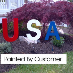 "USA Lawn & Garden Patriotic Letters - USA Lawn & Garden letters. 3/4"" thick x 12"" tall. Solid PVC is weatherproof, Can stay out all year long, and will look new for years to come."