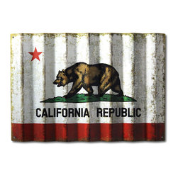 Carolina2California - Vintage California Flag on Corrugated Metal - California State Flag, or Bear Flag, on corrugated metal showcases this classic California symbol of state pride with a timeless vintage finish.